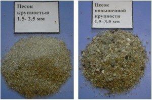 Сравнение песка по крупности